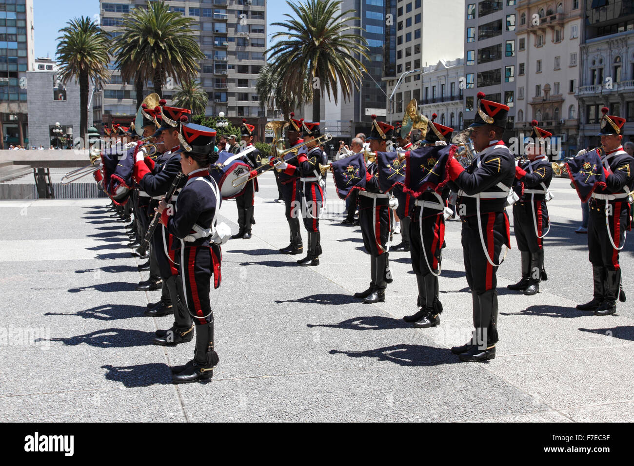 Military band playing at a commemoration parade in Independence Square,  Montevideo, Uruguay South America. Stock Photo