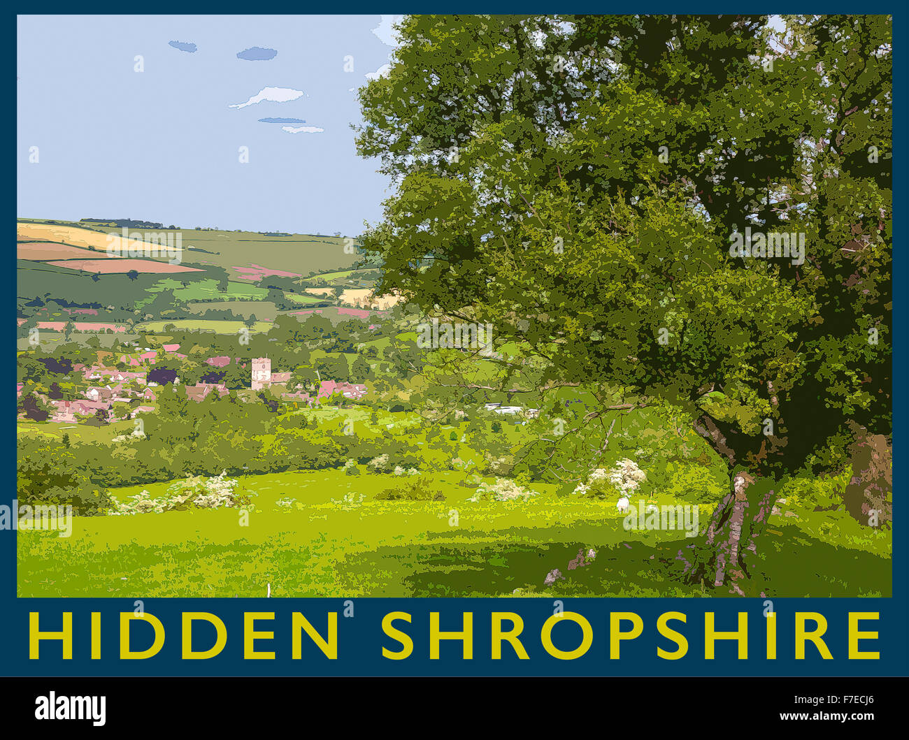 A poster style illustration from a photograph of the Shropshire village of  Cardington, Shropshire, England, UK - Stock Image