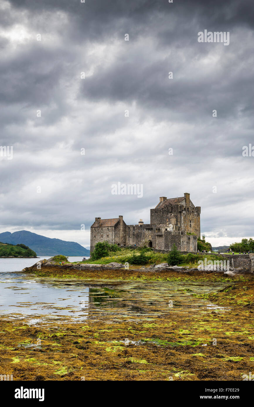 Eilean Donan Castle at Loch Duich, Dornie, Scottish Highlands, Scotland, United Kingdom - Stock Image