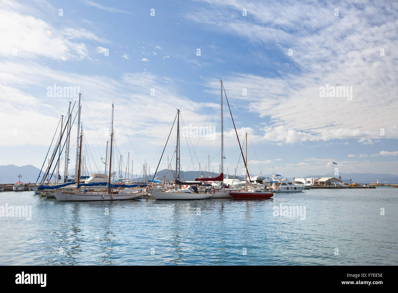 View of sail boats  in the harbour of Aegina island, Greece - Stock Image