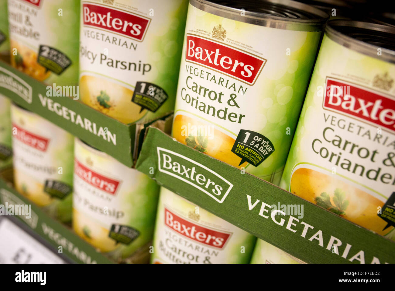 tins of Baxters soup in a supermarket - Stock Image