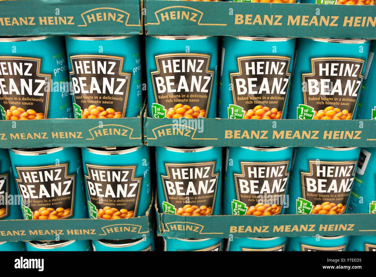 tins of Heniz baked beans - Stock Image