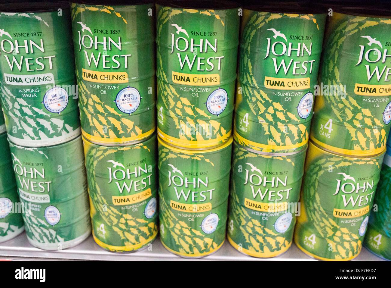 tins of John West Tuna Chunks - Stock Image