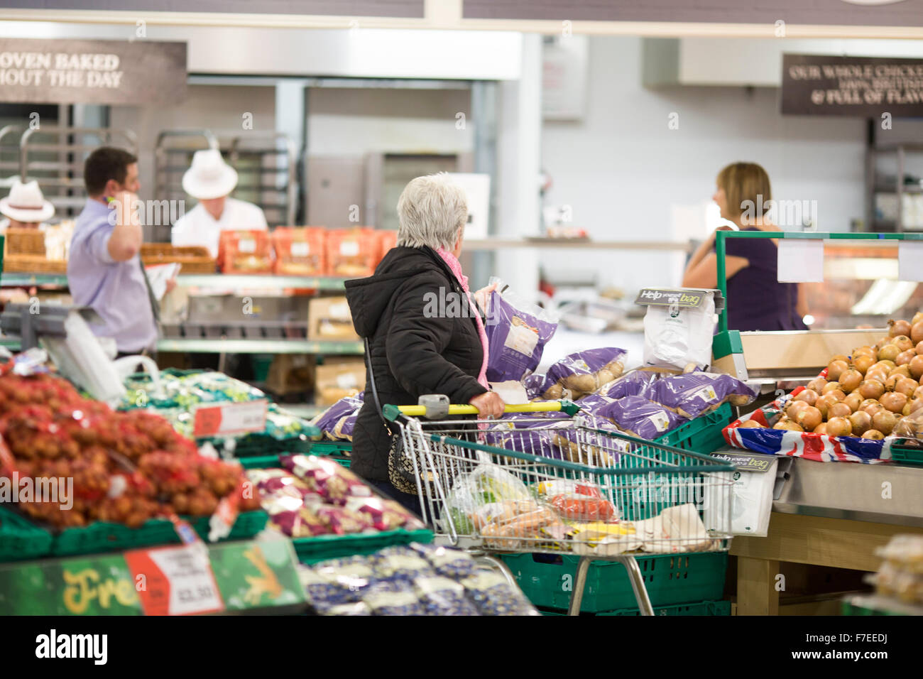 a woman shops in  Morrisons , Squire Gate Lane , Blackpool. - Stock Image