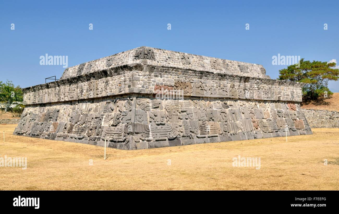 Pyramid of the Feathered Serpents, Ruins of Xochicalco, Cuernavaca, Morelos, Mexico Stock Photo