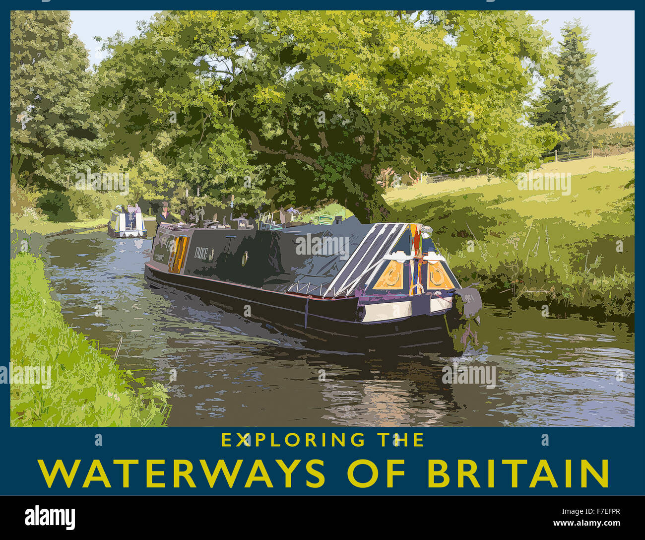 A poster style illustration from a photograph of Narrowboat on the Staffs & Worcester Canal near Kinver, Staffordshire, - Stock Image