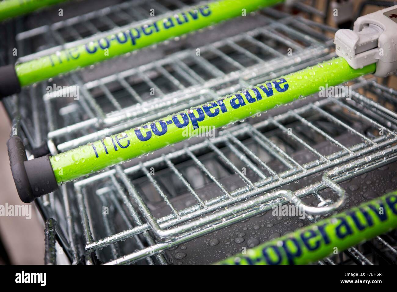 The Co Op food store trolleys - Stock Image