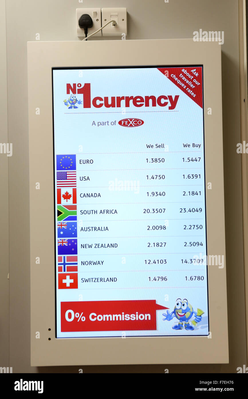 No 1 Currency Exchange shop , Crompton Place Shopping Centre , Bolton. Exchange rate board. - Stock Image