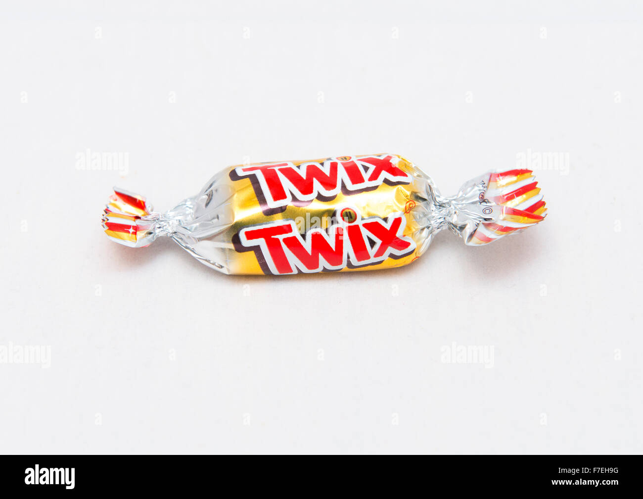 A Twix chocolate from a tin of Celebrations. - Stock Image