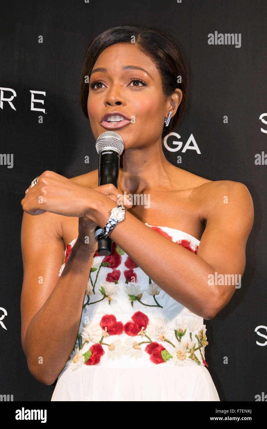 Tokyo, Japan. 30th November, 2015. British actress Naomie Harris speaks during a special red carpet event for Omega - Stock Image