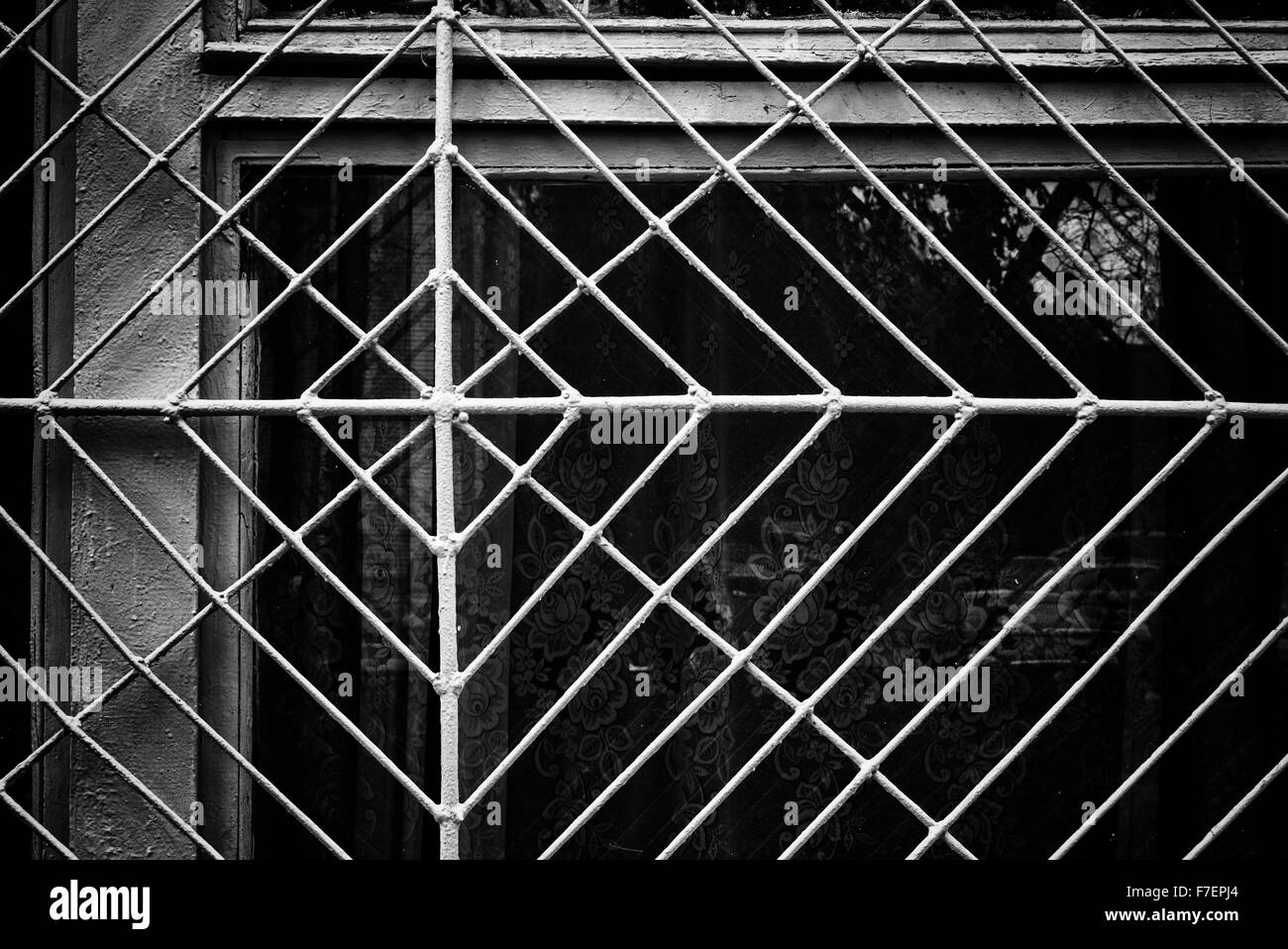 Window security frame constructed from metal resembles a spider web in composition. The darkness behind the grill - Stock Image