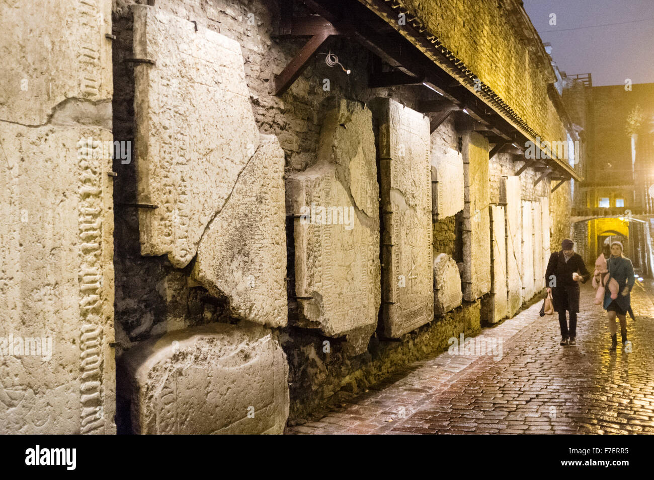 Ancient tombstones at St Catherine's Passage, Tallinn, Estonia - Stock Image