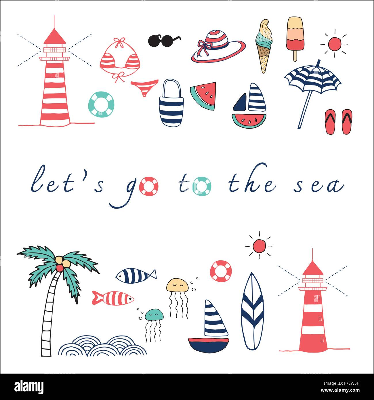 Let's go the the sea doodle illustration  objects collection - Stock Image