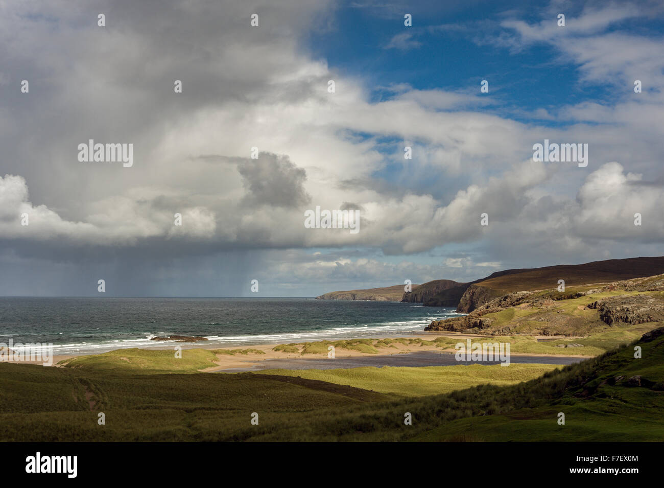 Looking from Sandwood Bay towards Cape Wrath - Stock Image