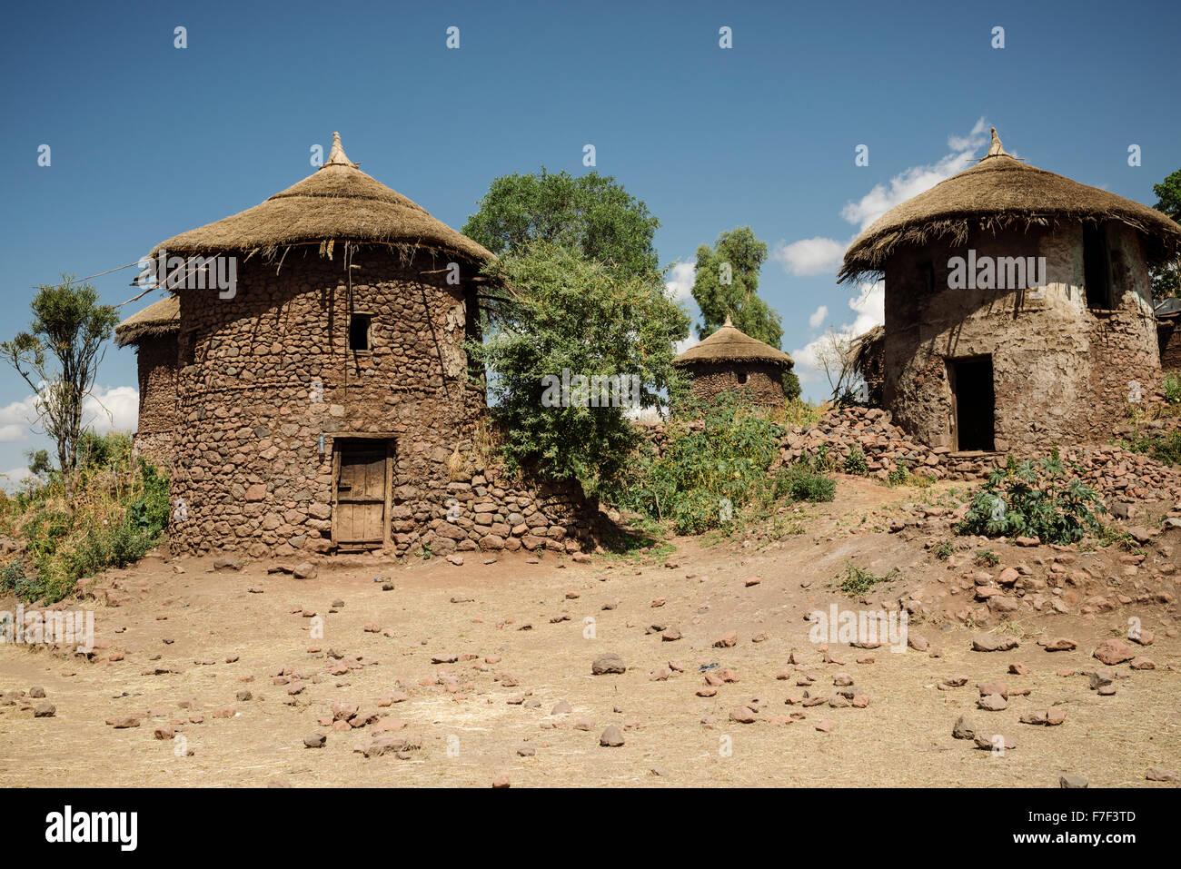 Traditional Houses, Lalibela, Ethiopia - Stock Image