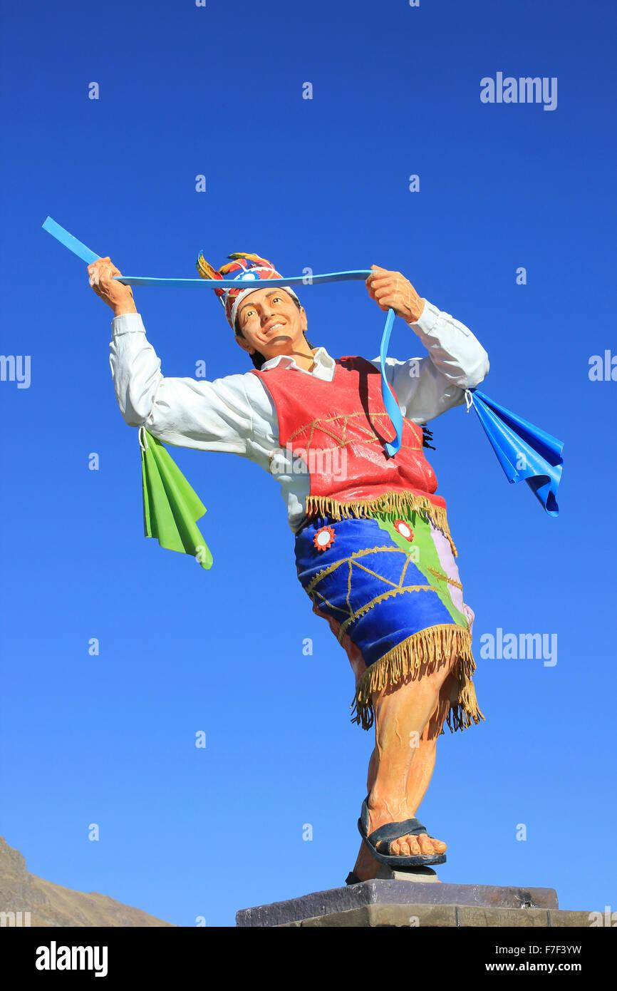 Modern Peru Sculpture Of Quechua Man Dancing - Stock Image