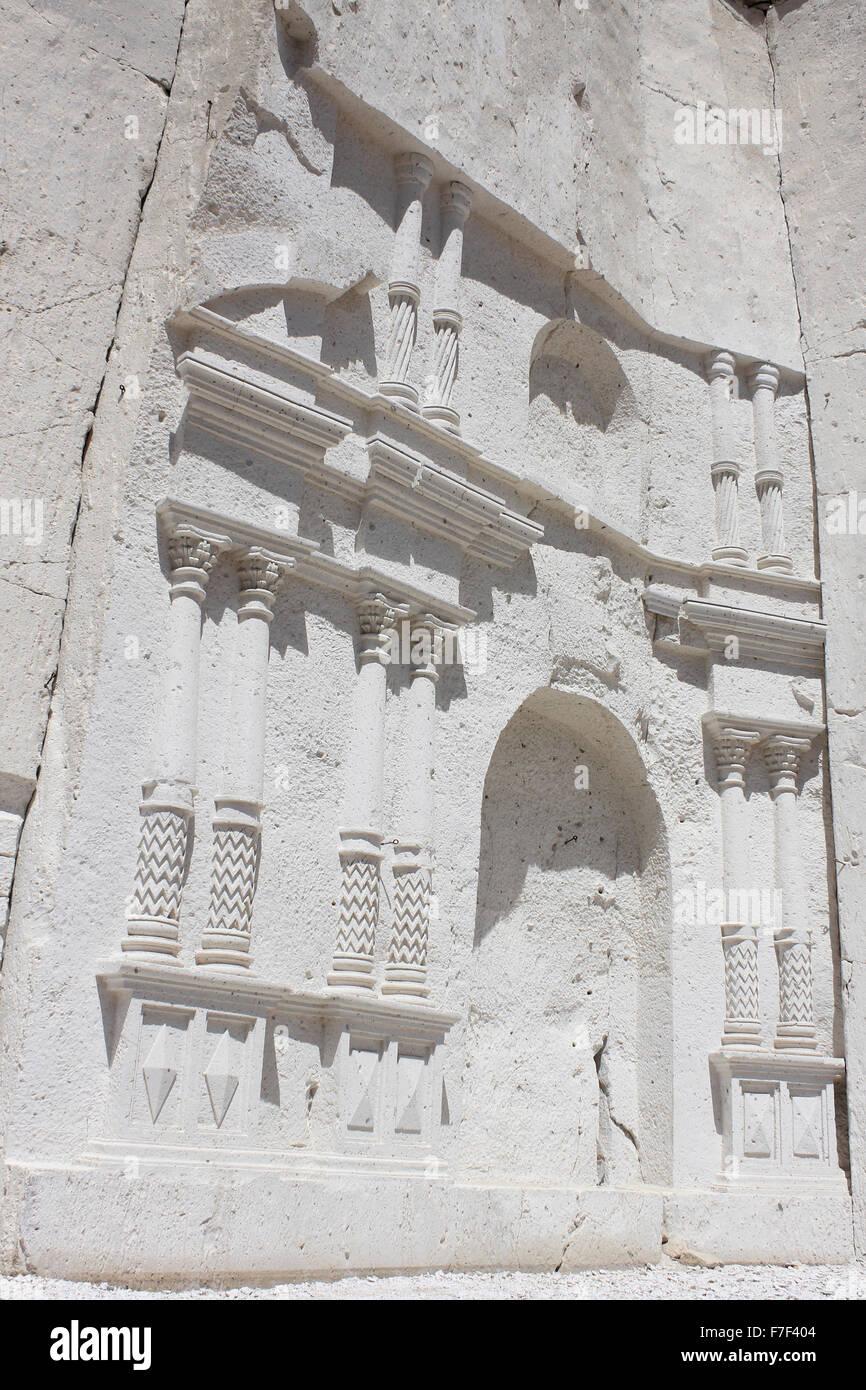 Carved Volcanic Rock Face In La Ruta del Sillar Quarry, Arequipa, Peru - Stock Image
