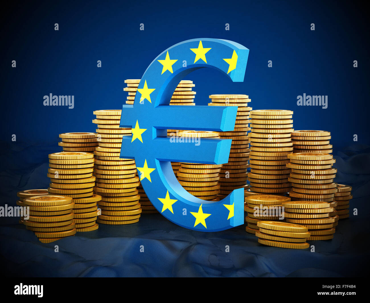 Euro symbol and gold coins stack on blue background. - Stock Image