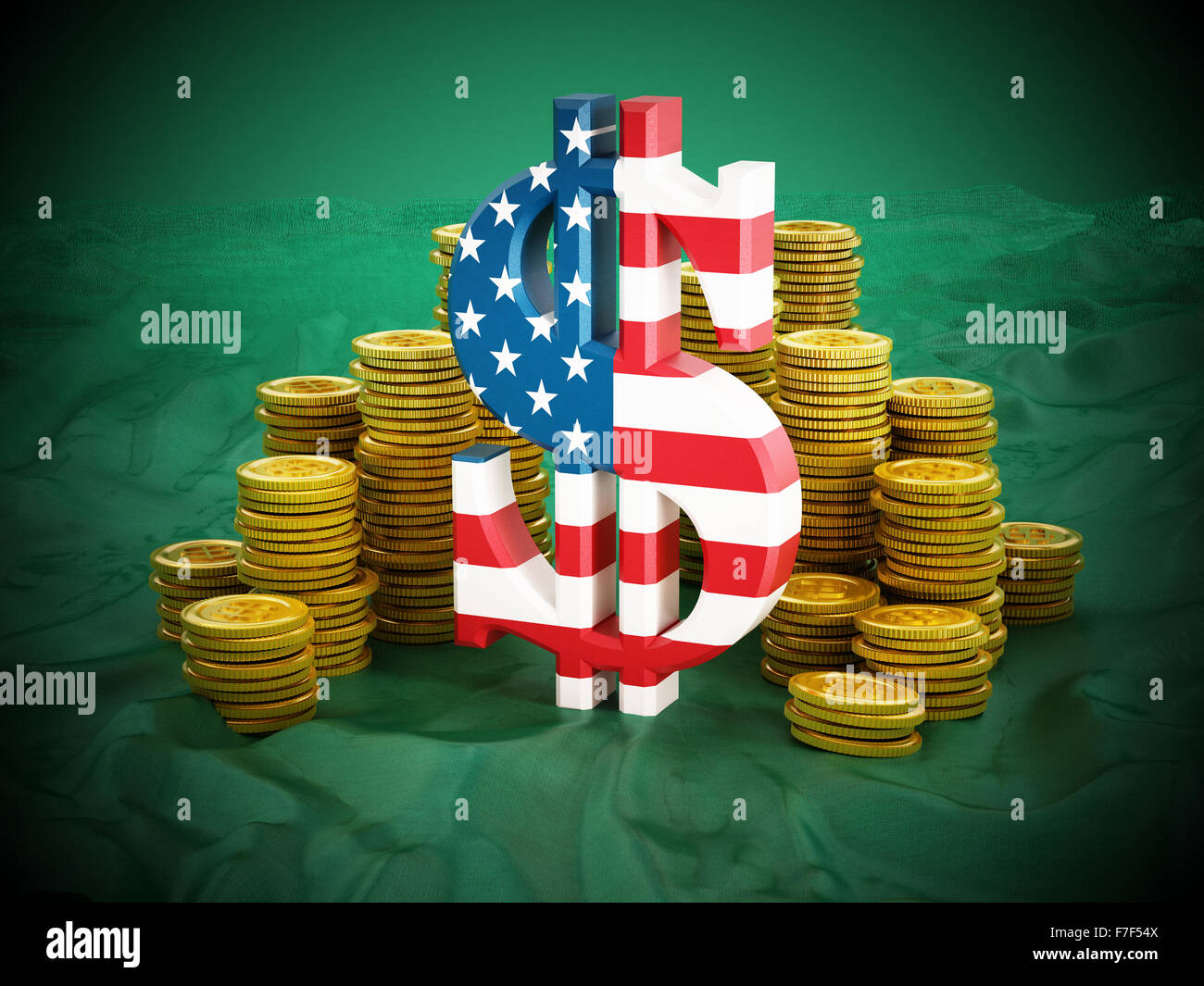 Dollar symbol and gold coins stack on green background. - Stock Image