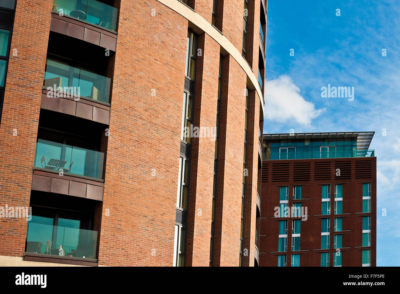 Modern city centre apartments Leeds West Yorkshire England UK United Kingdom GB Great Britain - Stock Image