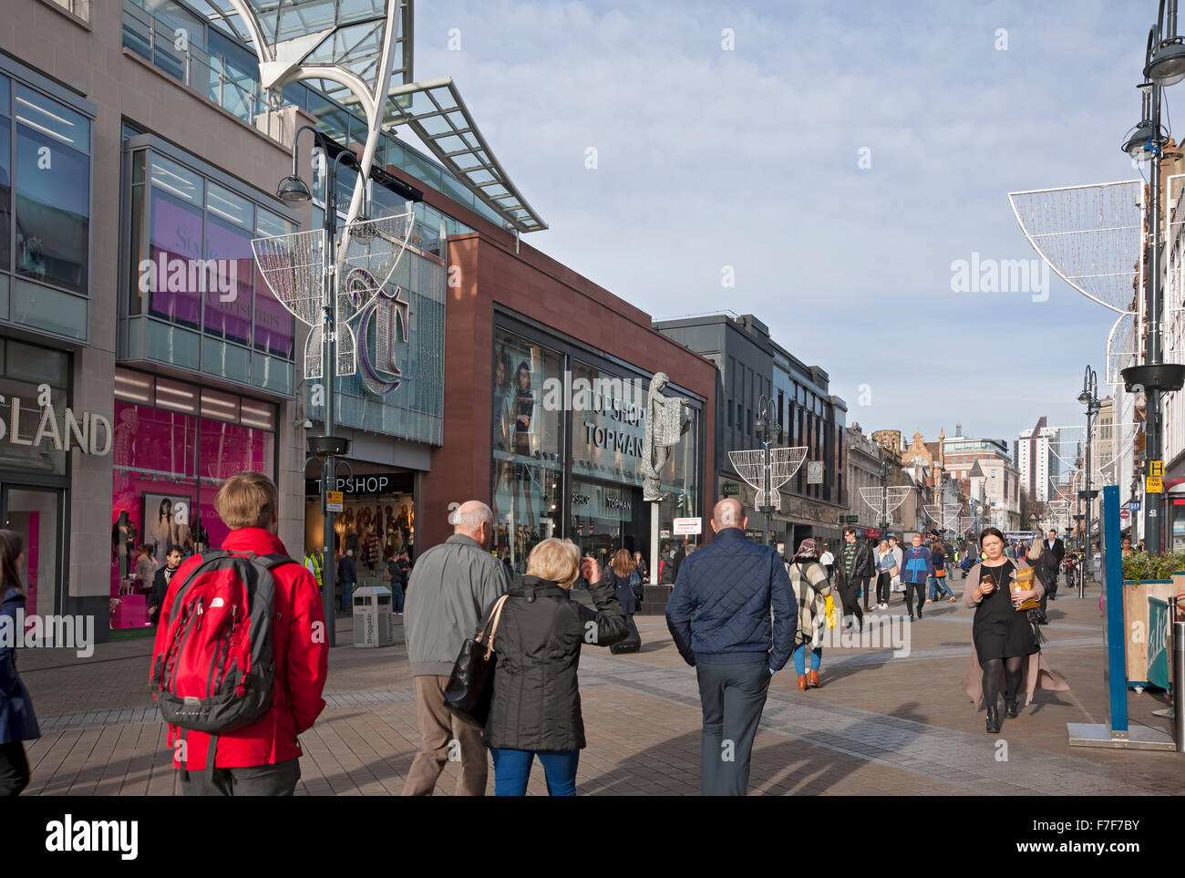 Briggate entrance to Trinity Leeds shopping centre Leeds West Yorkshire England UK United Kingdom GB Great Britain - Stock Image