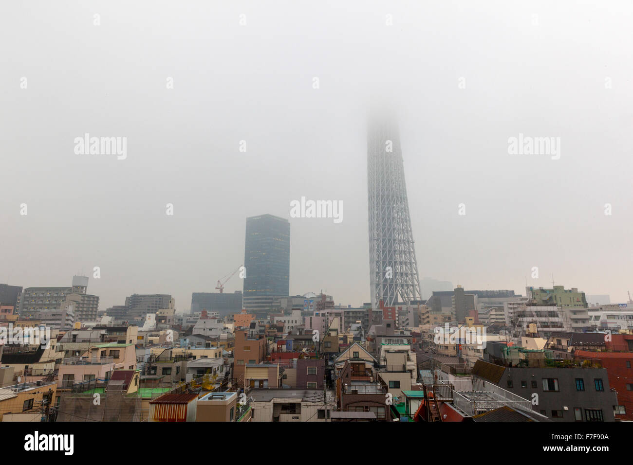 Skytree tower enveloped in fog in Tokyo, Japan - Stock Image