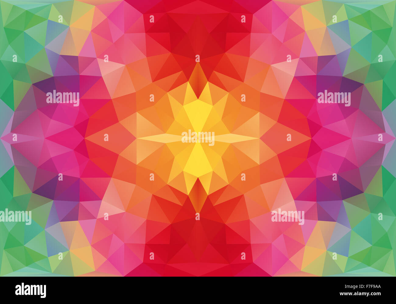 abstract floral geometric polygon pattern, seamless vector background - Stock Image