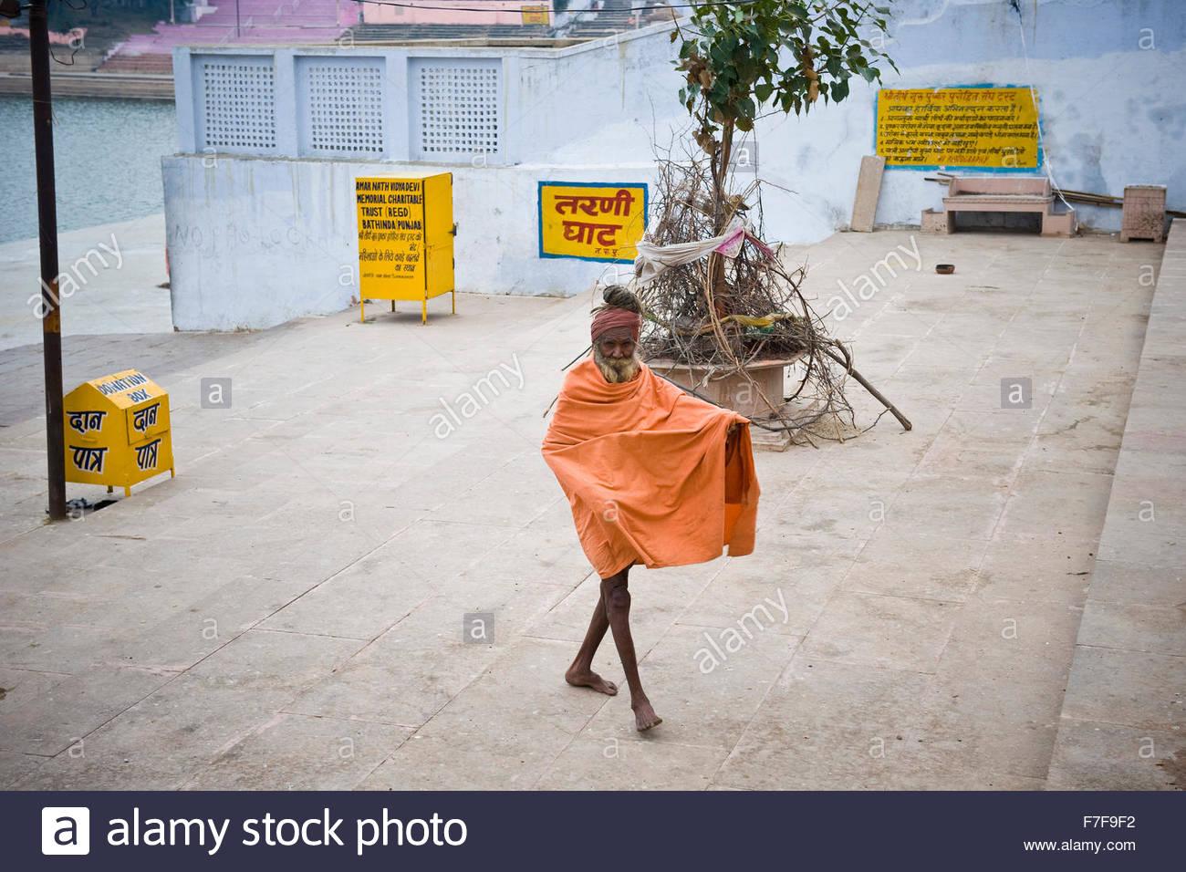 old sadhu,pushkar,rajasthan,india - Stock Image