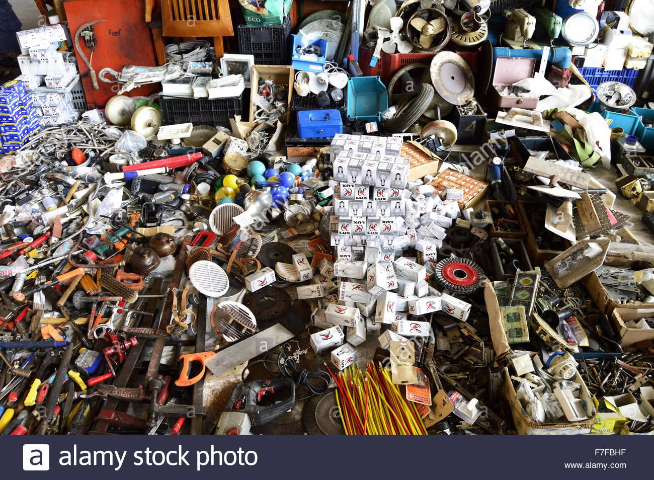 Scrap hardware products displayed at Mercat Del Encants (flea market) in Barcelona Spain Europe - Stock Image