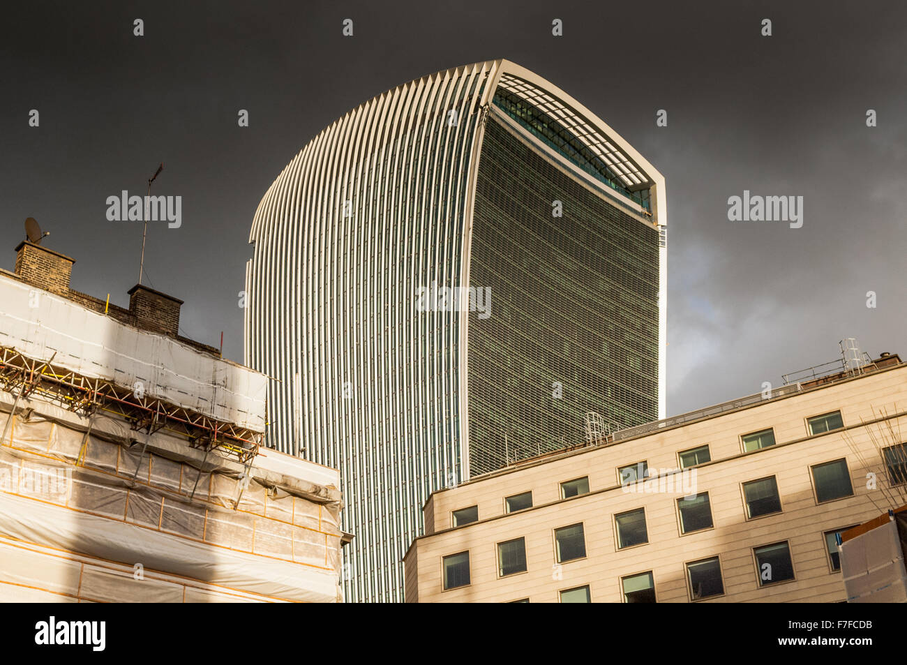 View from The Monument London looking towards the skyscraper 20 Fenchurch St. - Stock Image