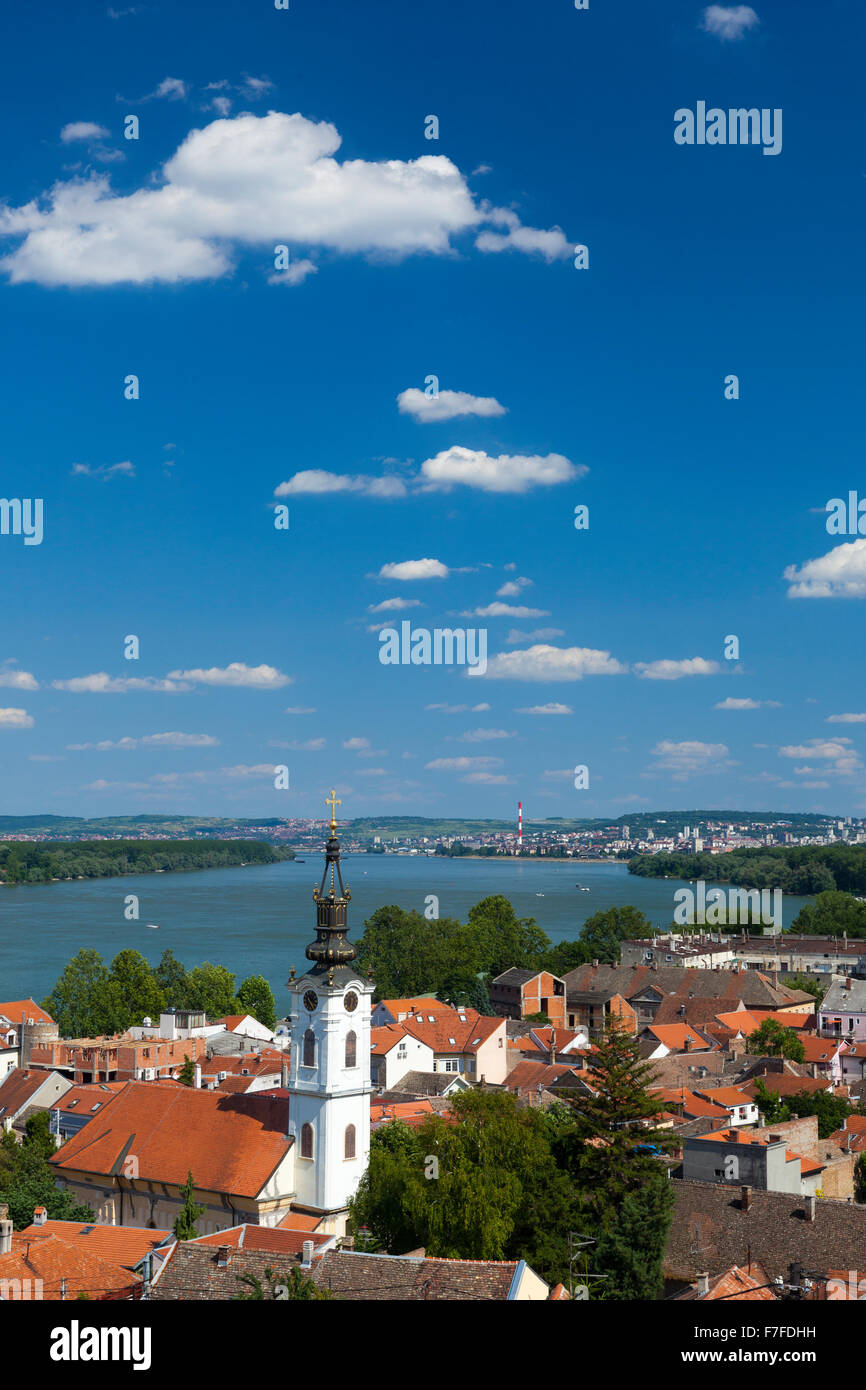 View on the St. Nicholas Church, Danube river and Belgrade from the Gardos hill in Zemun, Serbia - Stock Image