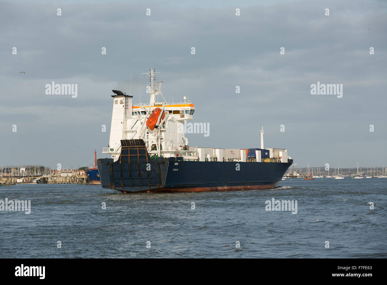 MS Arrow entering Portsmouth harbour. Fully laden with containers and heading for the commercial port to unload. - Stock Image