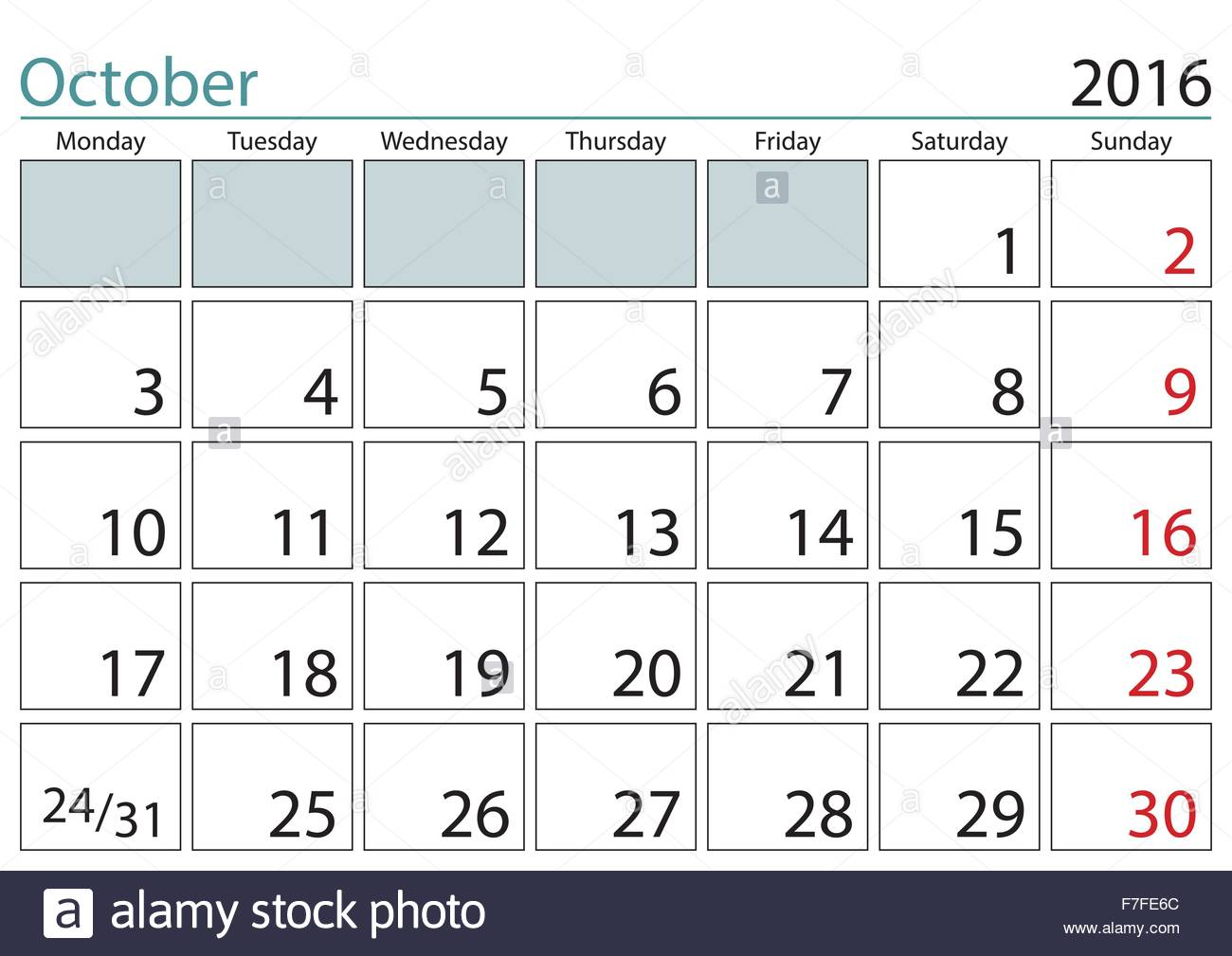 october 2016 sheet in a wall calendar in english week starts on monday