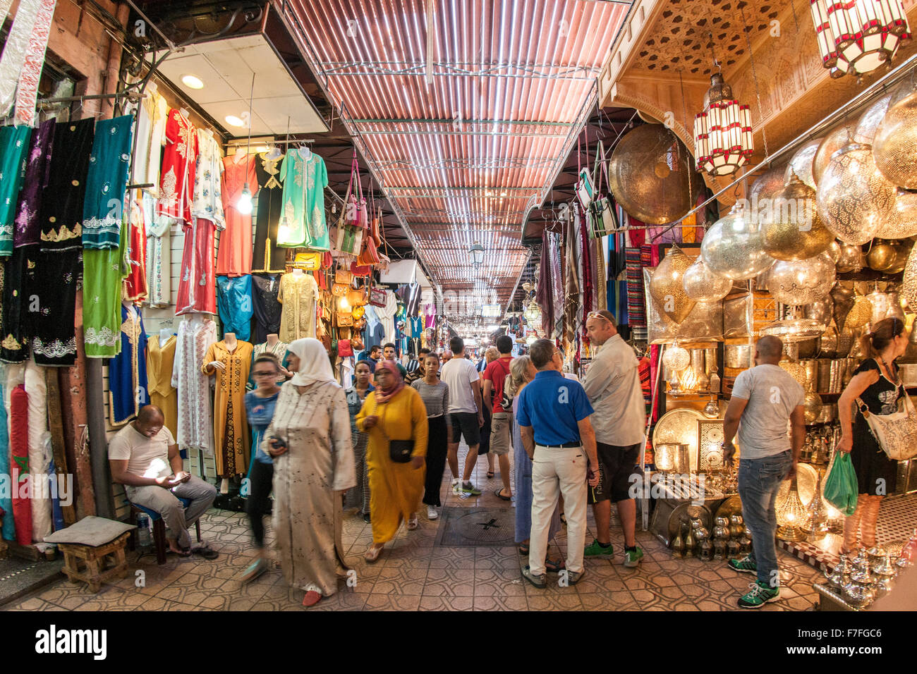 The souk in Marrakech, Morocco. - Stock Image