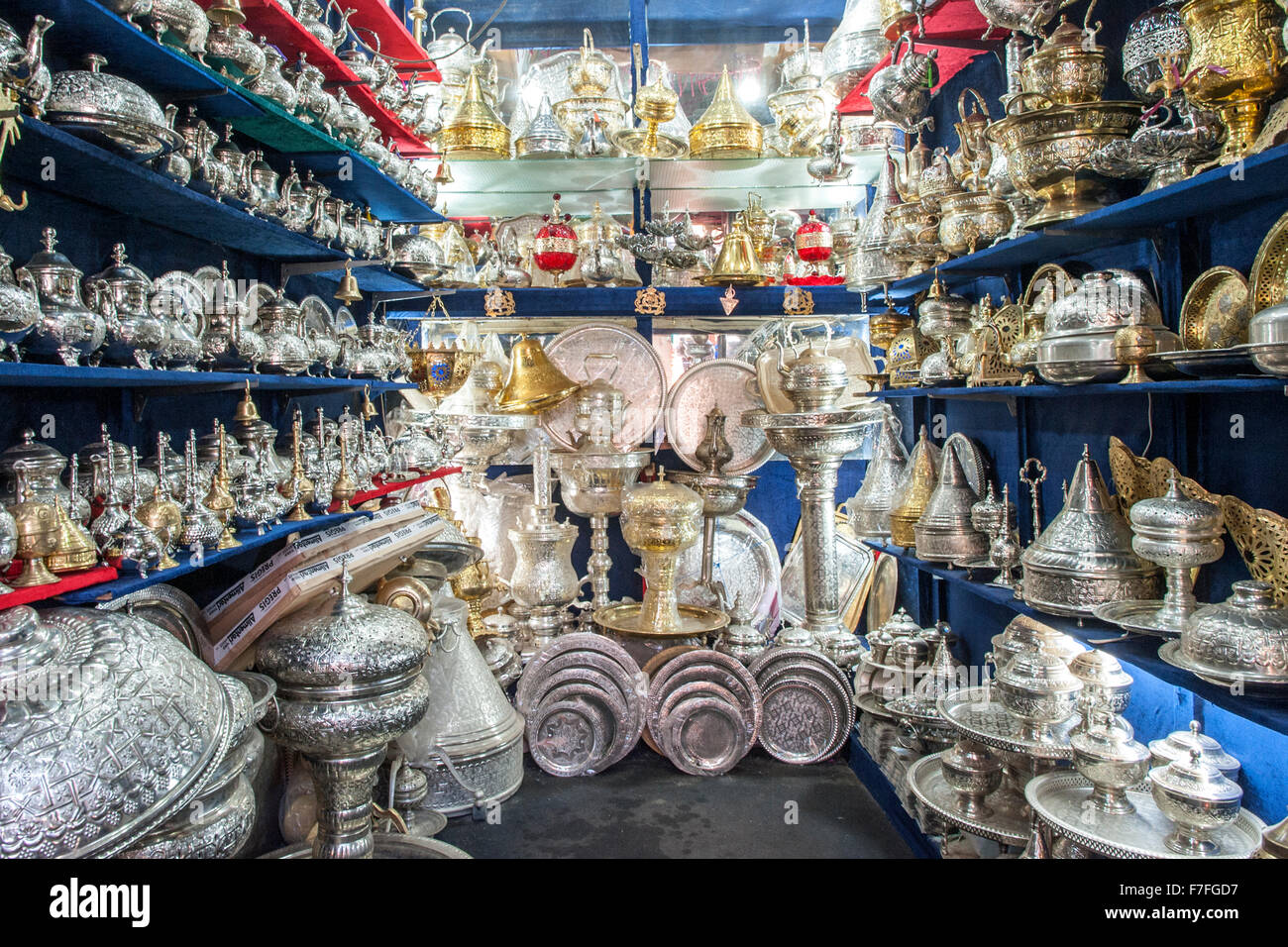 Silverware for sale in the souk in Marrakech, Morocco. - Stock Image