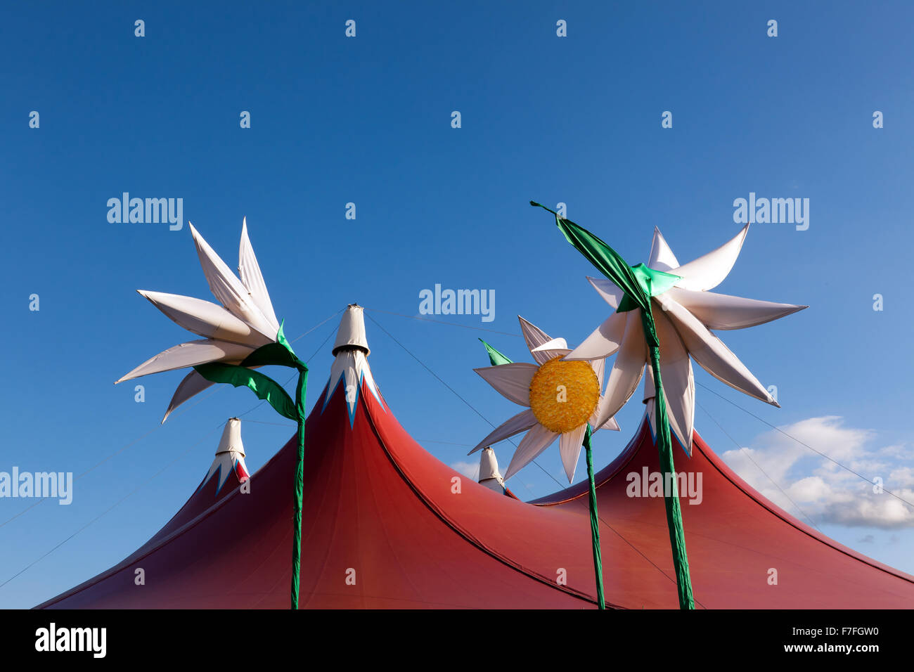 View of the roof of the Heavenly & Friends Gilles Paterson Worldwide Stage/Tent at the On Blackheath Music Festival - Stock Image
