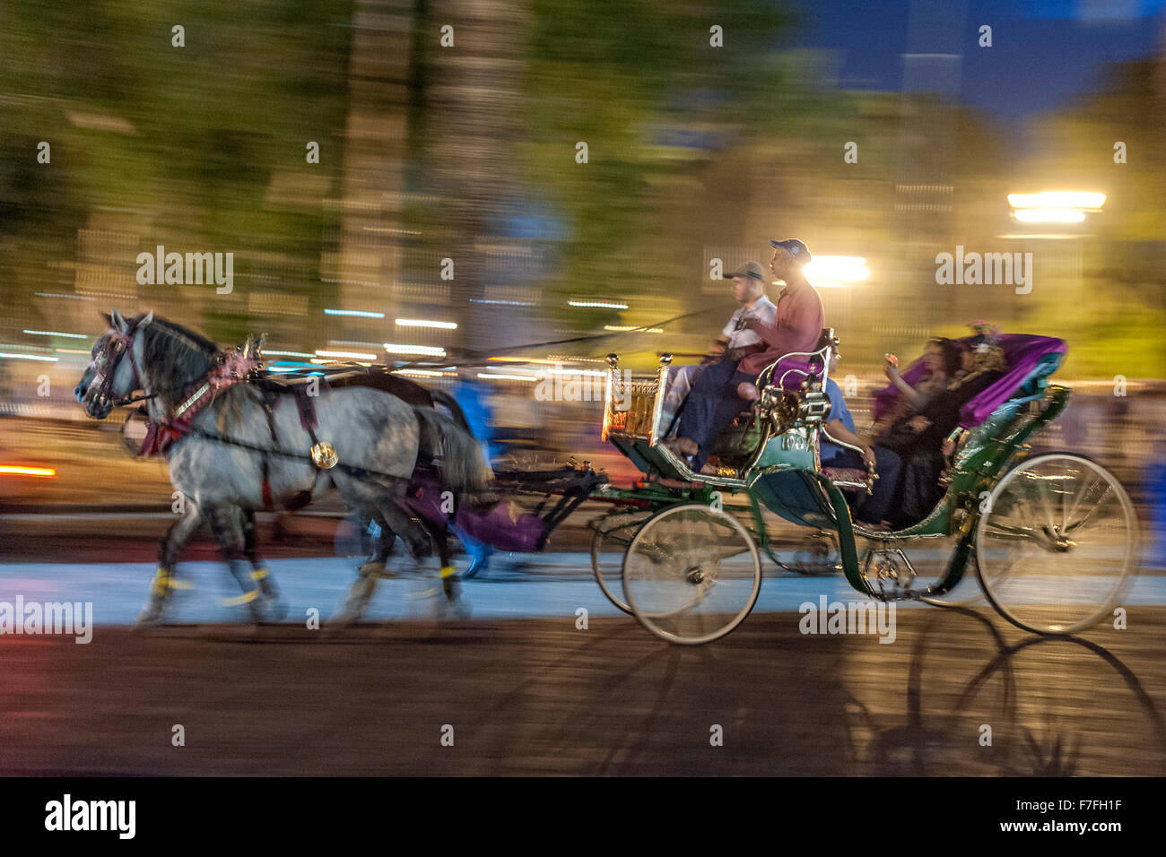 Horse drawn carriage in Jemaa El Fna Square in Marrakech, Morocco. - Stock Image