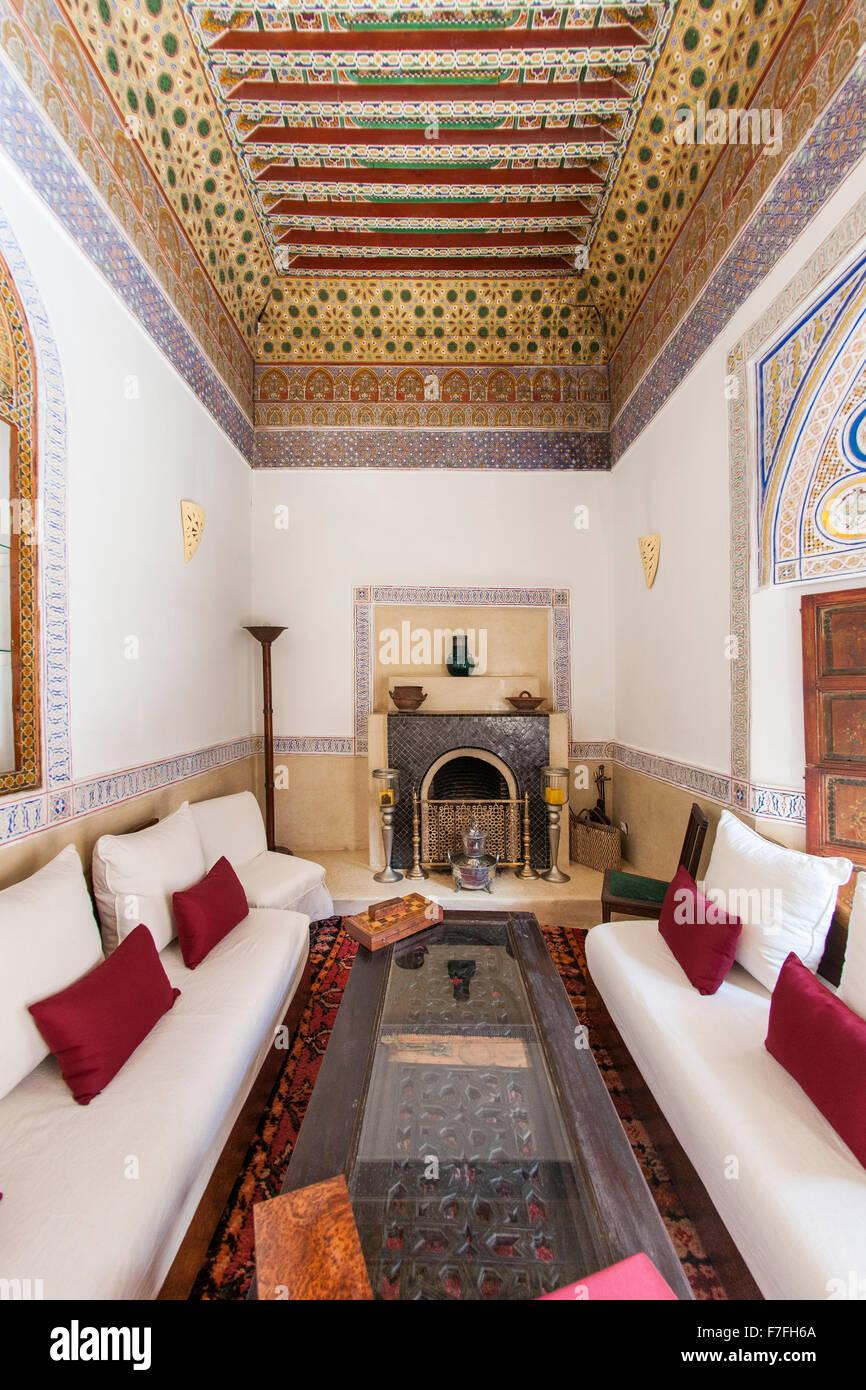 Lounge area of Riad El Zohar, Marrakech, Morocco, October 2015. - Stock Image