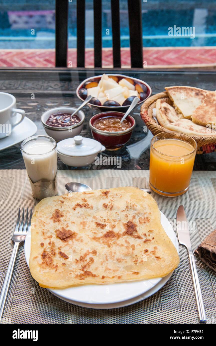 Breakfast at Riad El Zohar in Marrakech, Morocco. - Stock Image