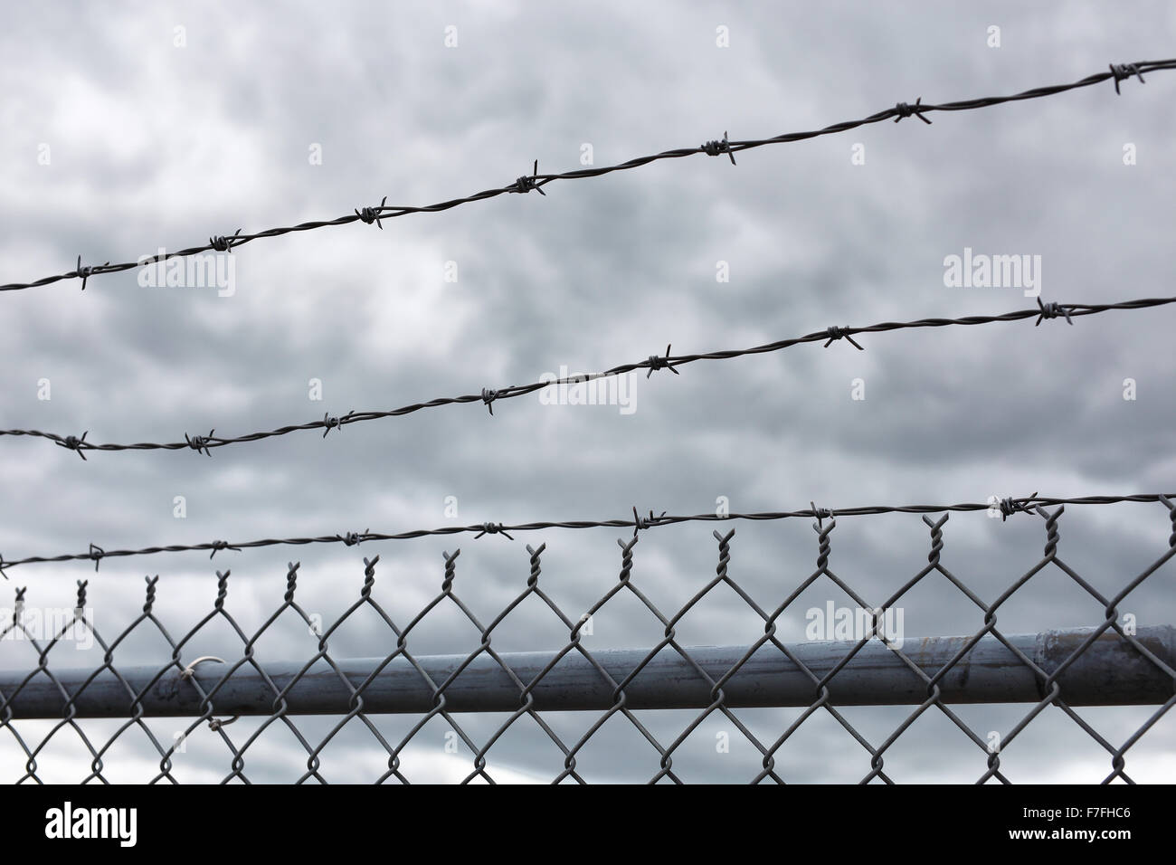 A view of the sky with dark clouds behind a barbed wire security fence. - Stock Image
