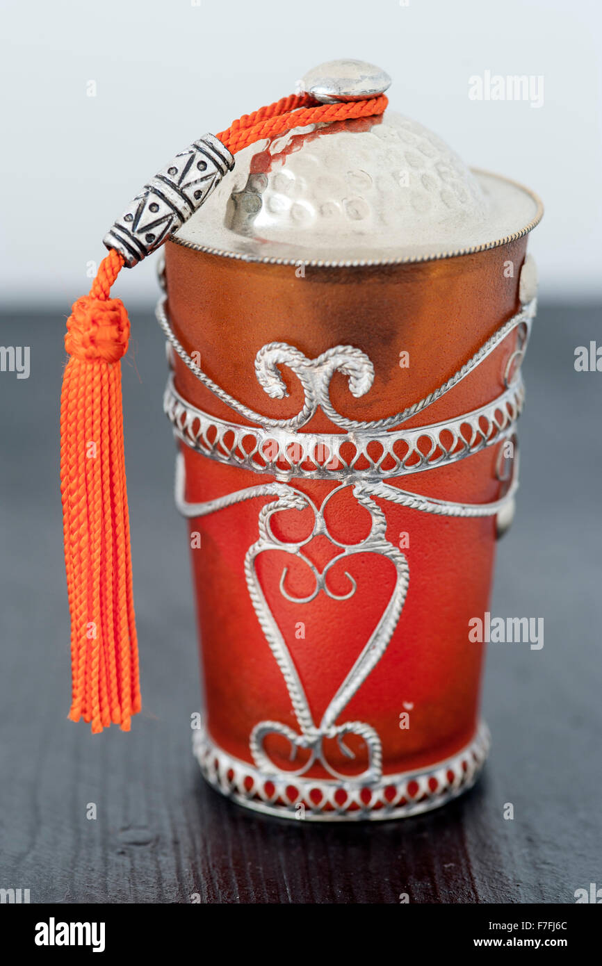 Decorative candle holder in a riad in Morocco Stock Photo