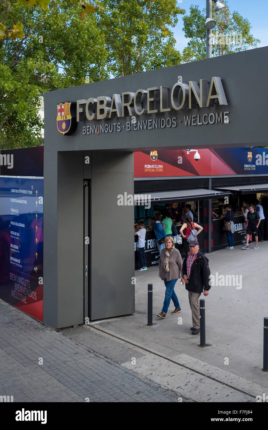 Entrance to the official stores of FC Barcelona inside Camp Nou complex - Barcelona, Catalonia, Spain - Stock Image
