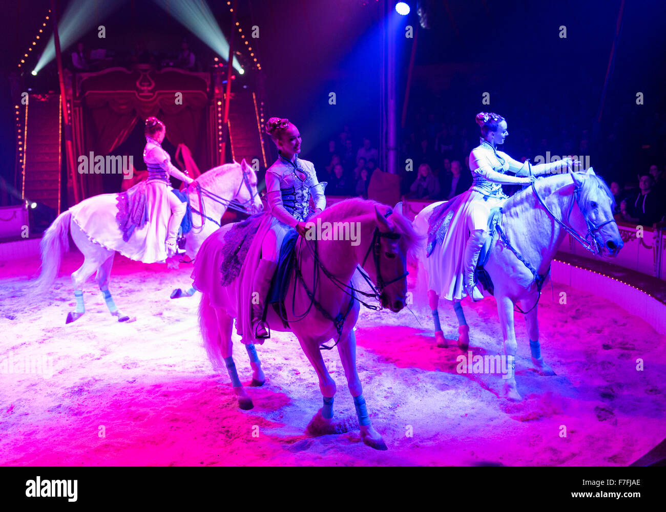Artists of the Roncalli Circus (the Saabel Family with their horses) perform their show 'Salto Vitale'. - Stock Image