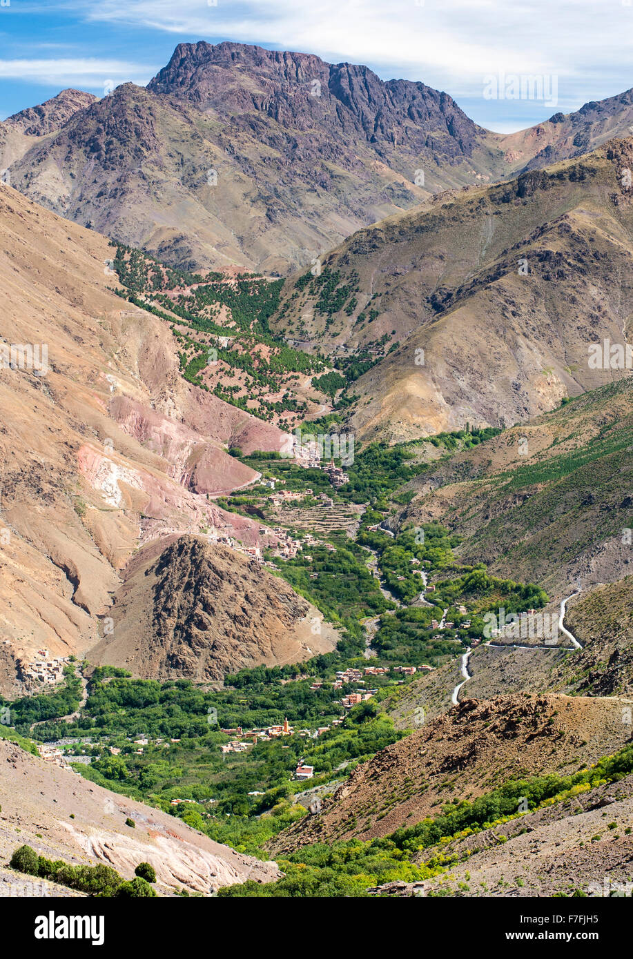 Landscape scenery and the villages of Ait Souka and Imlil in the Atlas mountains near in Morocco. - Stock Image