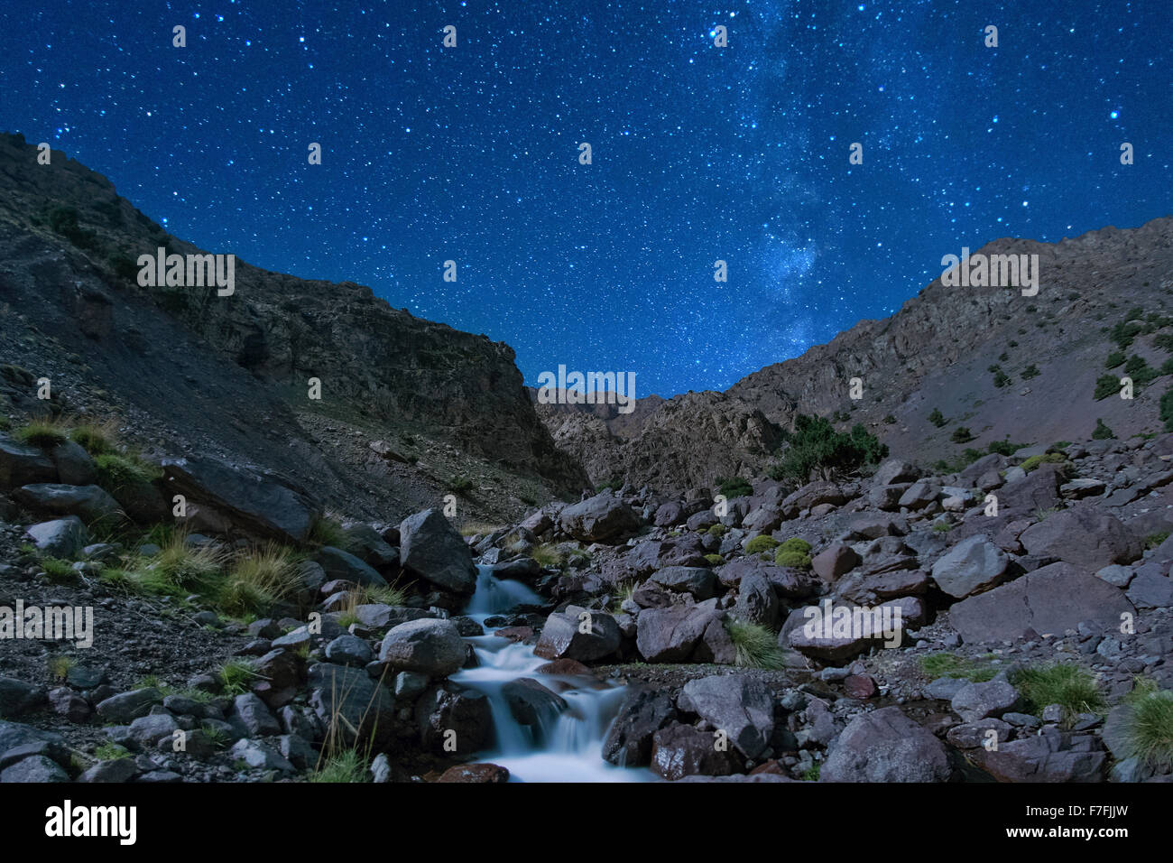 Moonlit landscape in the Tamsoult region of the Toubkal National Park in the Atlas mountains in Morocco. - Stock Image