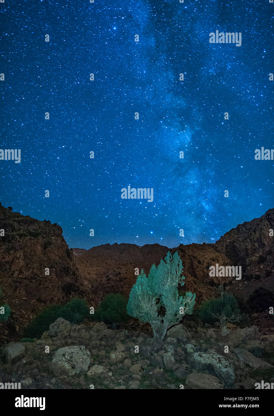 Night time view of the landscape in the Tamsoult region of the Toubkal National Park in the Atlas mountains in Morocco. - Stock Image