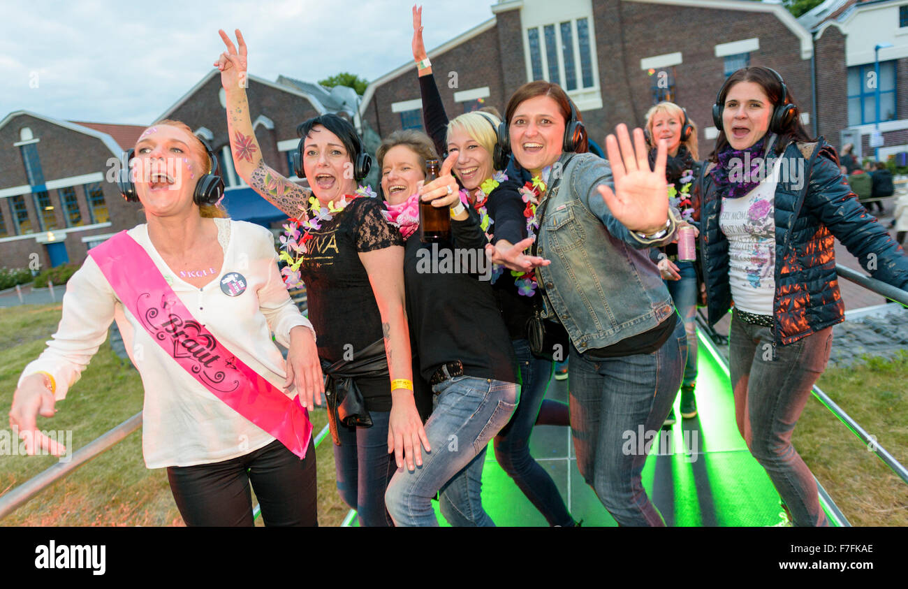 People in the Ruhr Area celebrate the annual 'Extraschicht' - the night of industrial culture, here at the - Stock Image