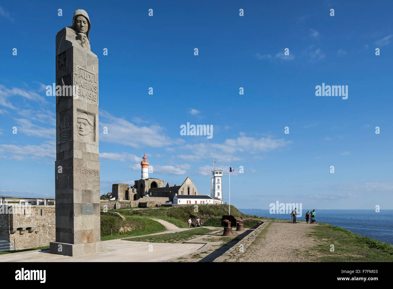 Monument in honour of the sailors who died during World War One at the Pointe Saint-Mathieu, Finistère, Brittany, Stock Photo