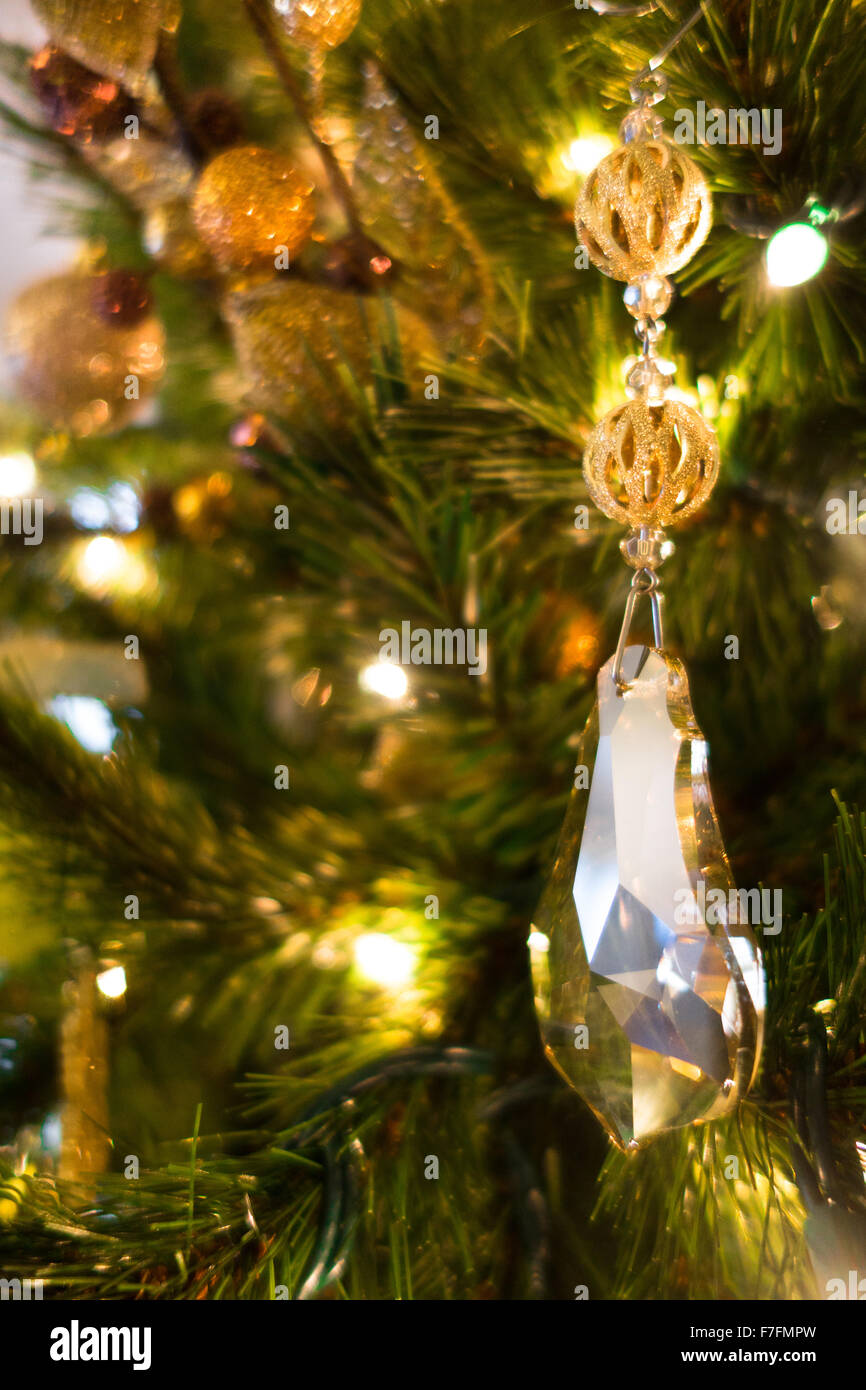 Beautiful Christmas Ornaments Are Hung On An Elegant Christmas Tree
