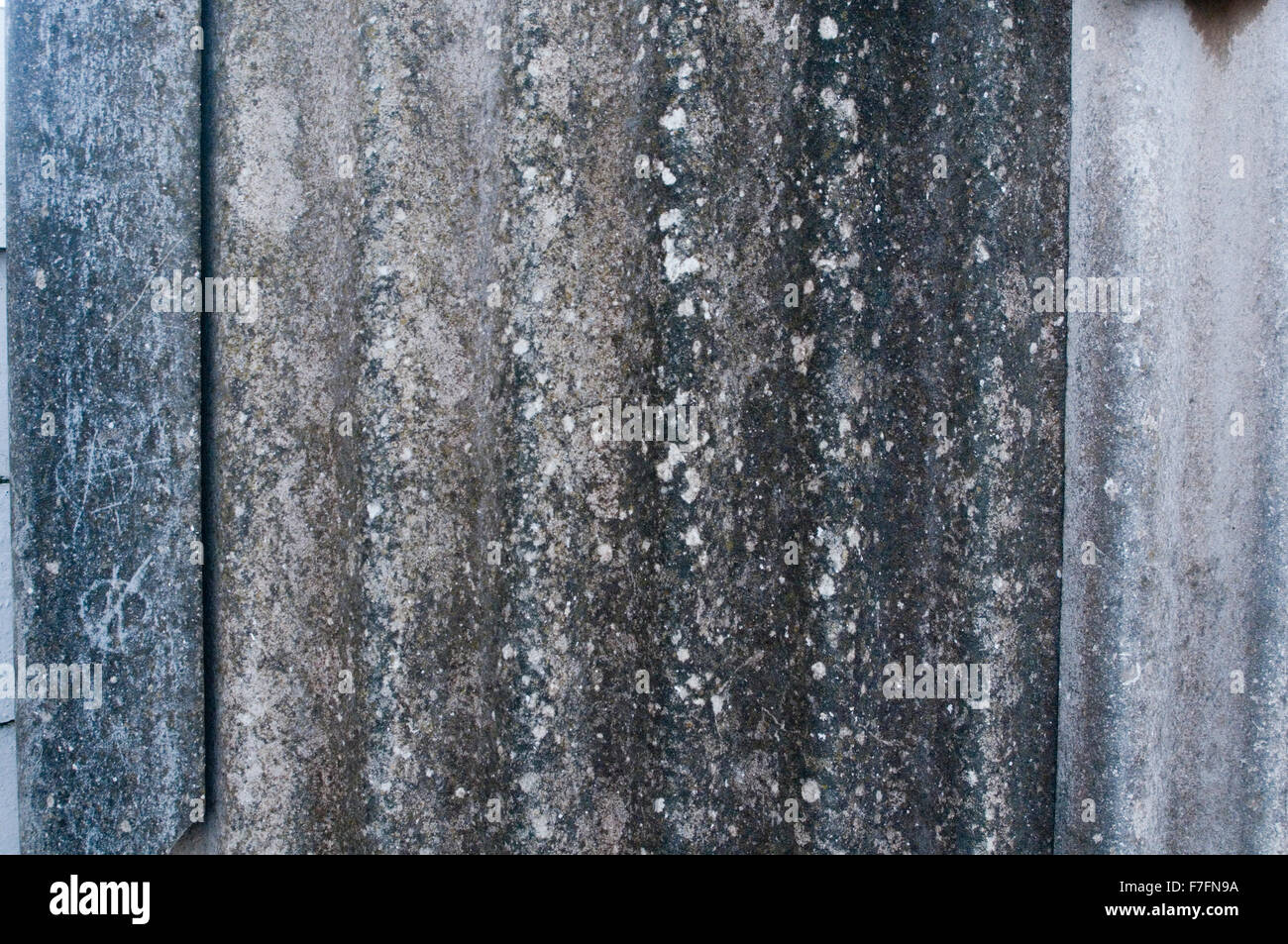 Asbestos removal removals corrugated sheet sheets building material materials specialists specialist lung cancer, - Stock Image